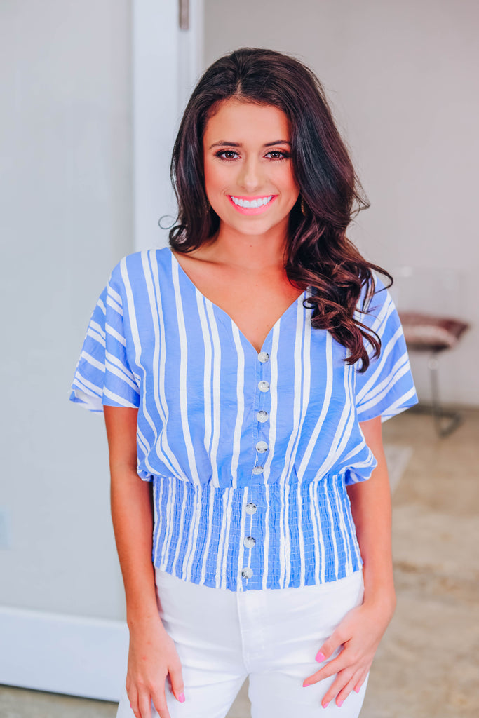 Make You Stay Striped Top  - Light Blue