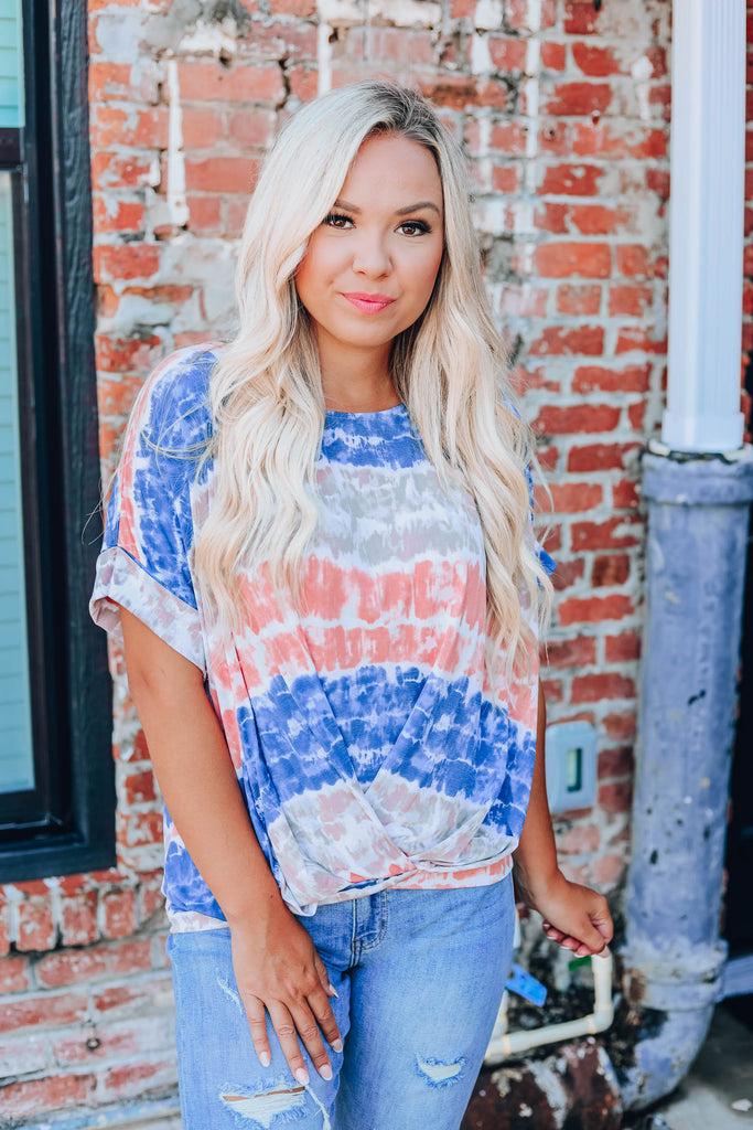 Striking Stripes Tie Dye Top - Navy