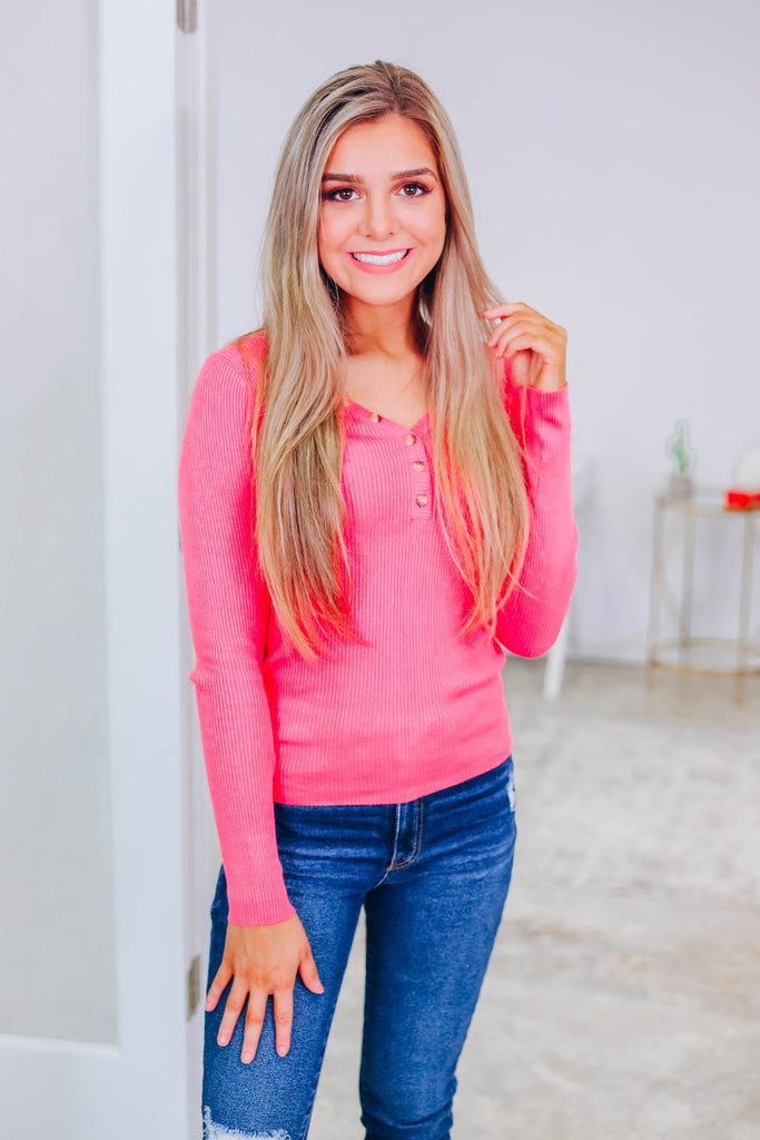 You're So Basic Henley Top - Pink