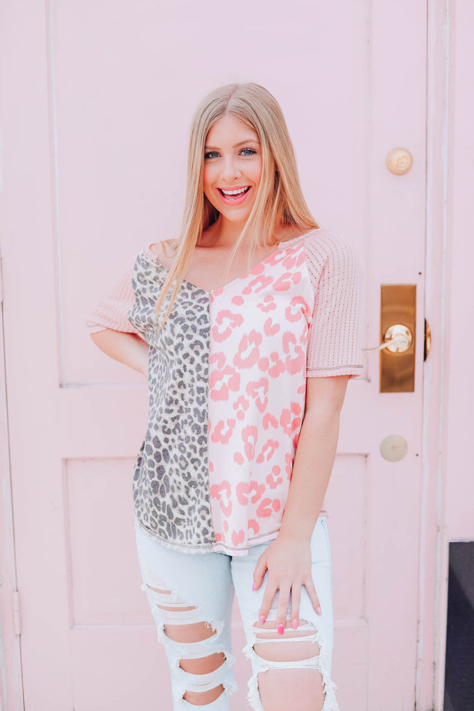 Dare To Dream Color Block Top - Dusty Pink