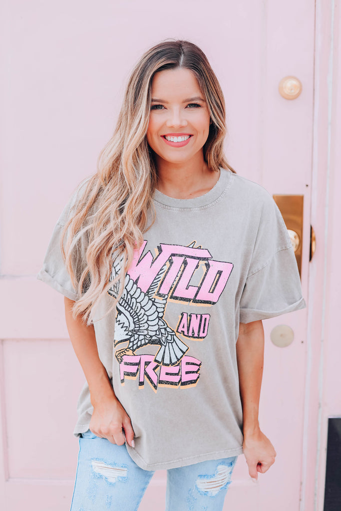 Wild And Free Vintage Graphic Tee - Taupe