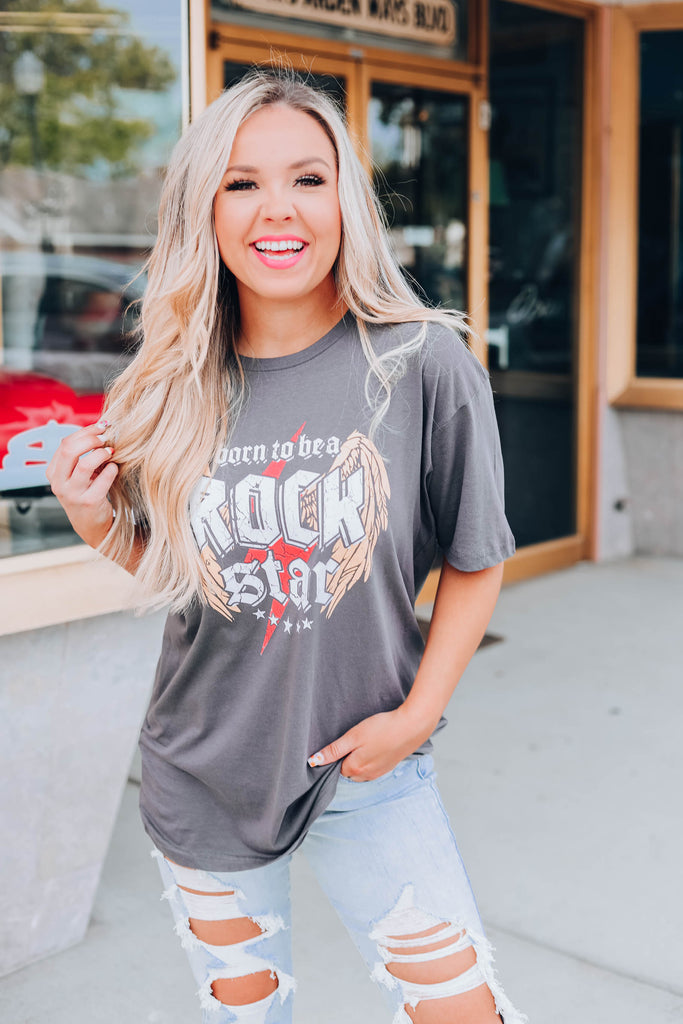 Born To Be A Rock Star Graphic Tee - Charcoal