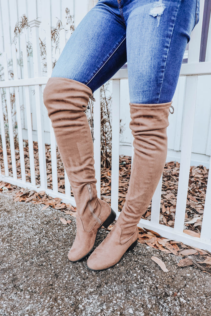 Siella Suede Over the Knee Boot - Taupe