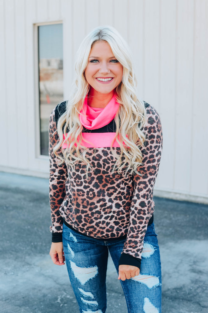 Leopard Cowl Neck Sweater
