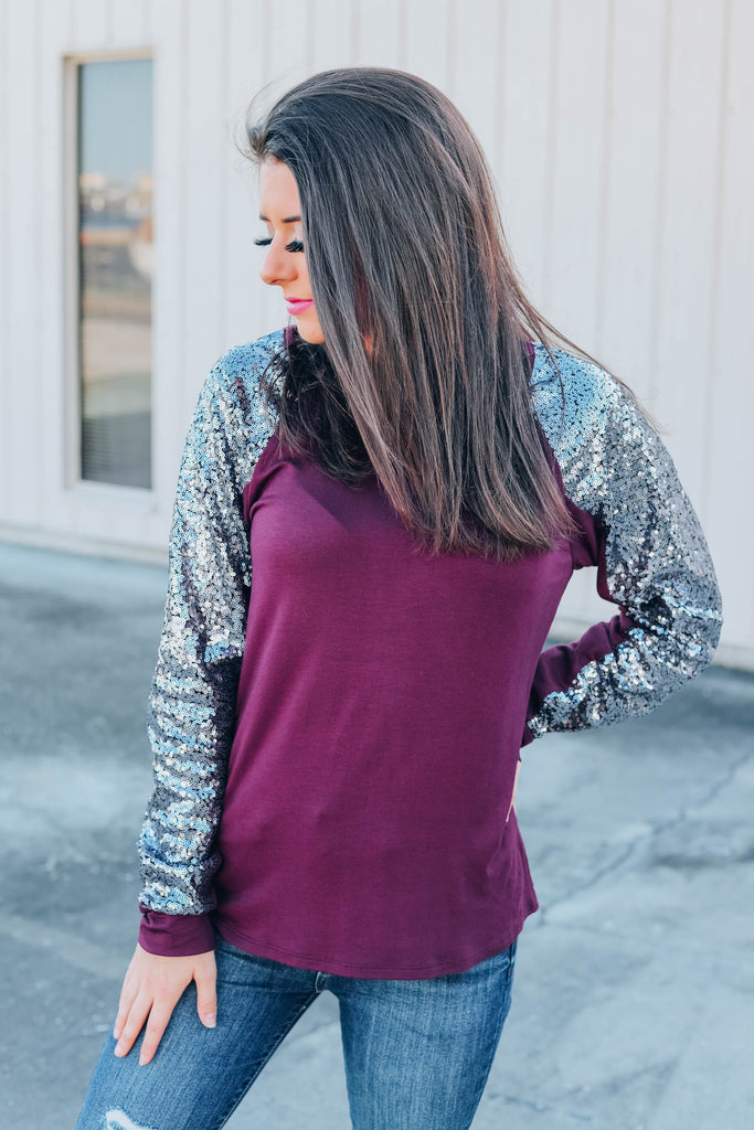 Holiday Party Sequin Top - Plum