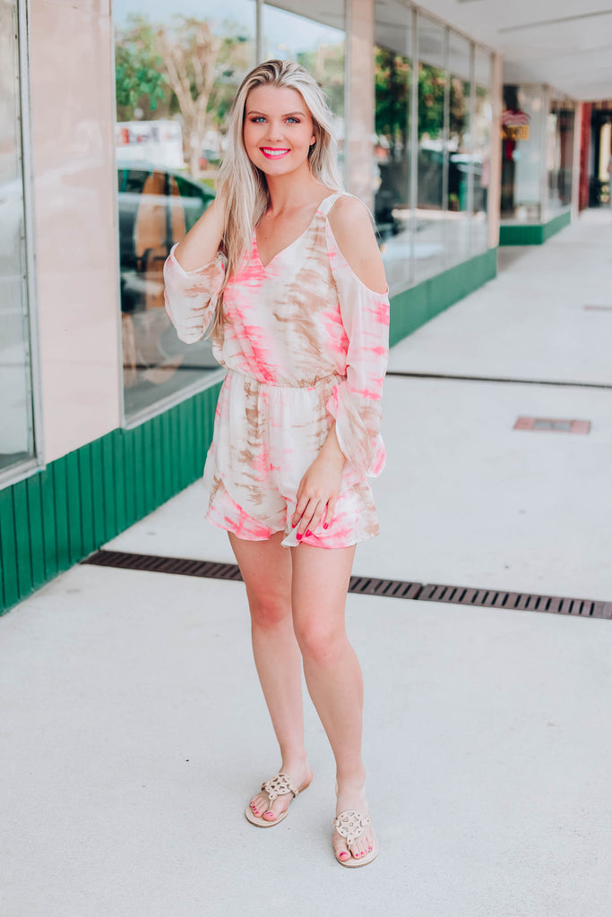 Tia Tie Dye Cold Shoulder Romper
