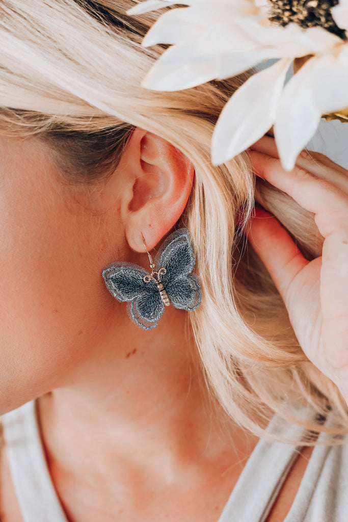 Butterfly Embroidered Earrings - Grey
