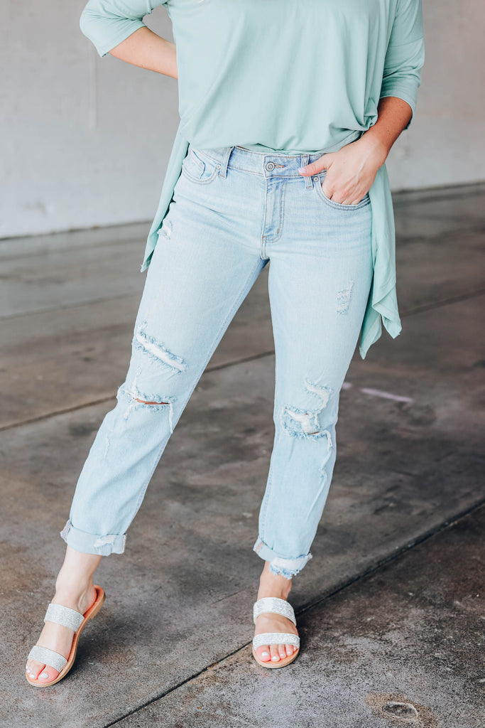 Frankie Mid-Rise Distressed Jeans - LT