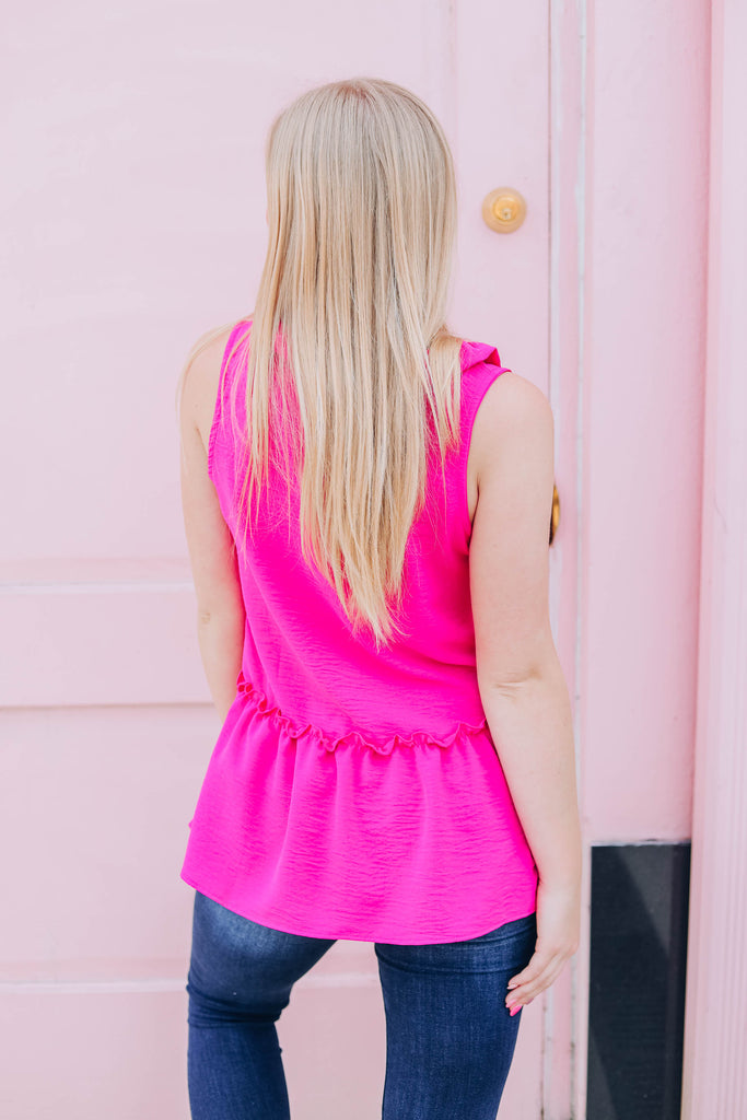 Anything Goes Baby Doll Tank - Fuchsia