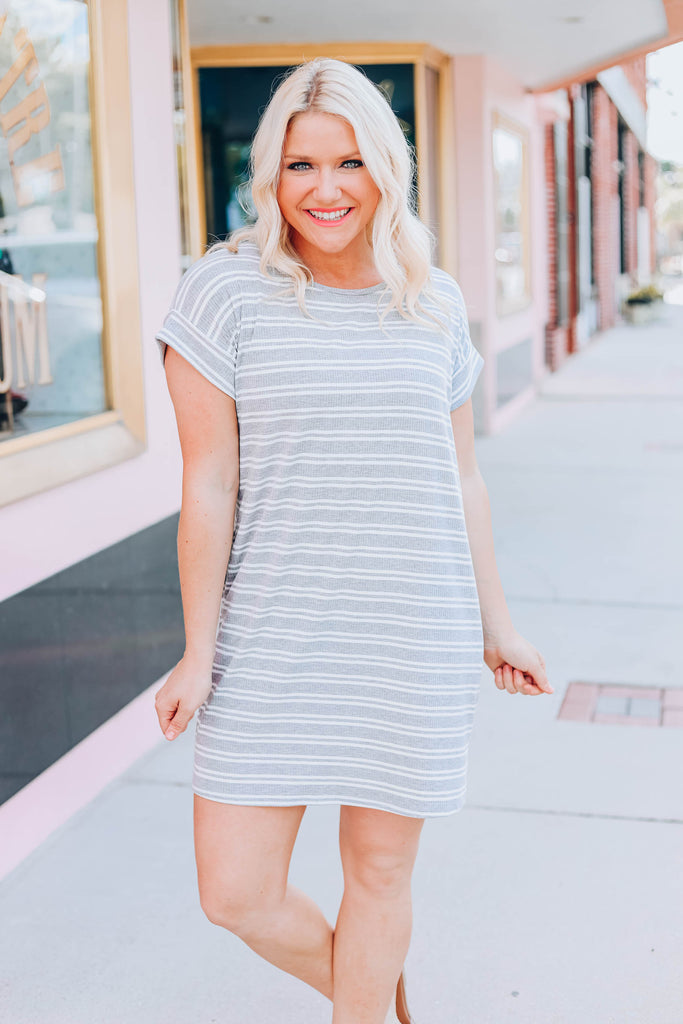 Once In a Lifetime T-Shirt Dress - Heather Grey