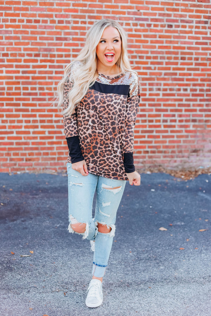 Come & Get It Leopard and Sequin Top