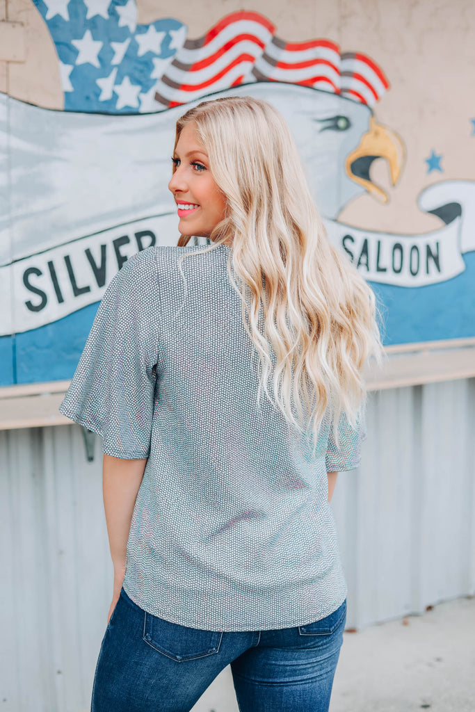 Super Star Sequin Top - Grey - SLIGHTLY IMPERFECT