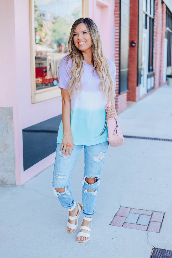 Happy Days Tie Dye Top - Lavender/Mint