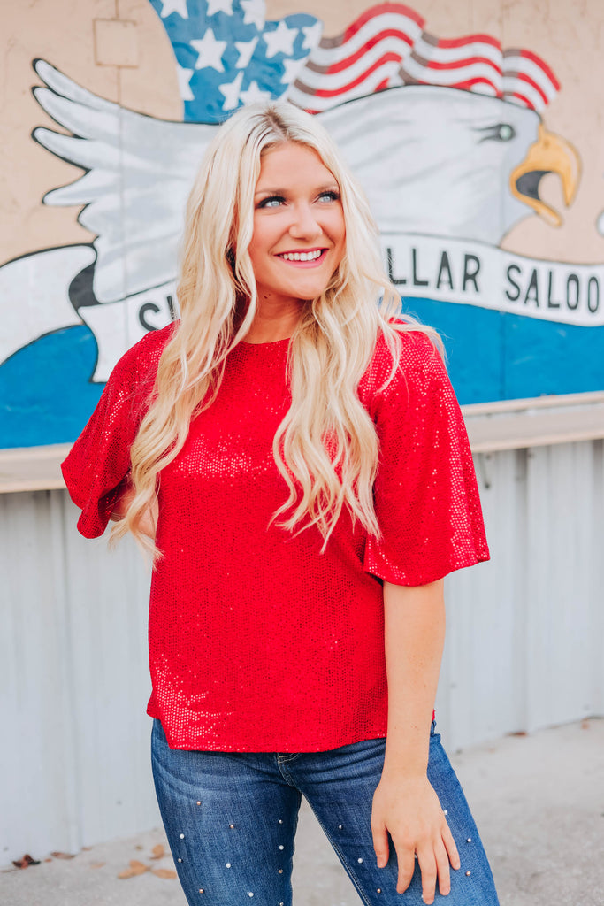 Super Star Sequin Top - Red