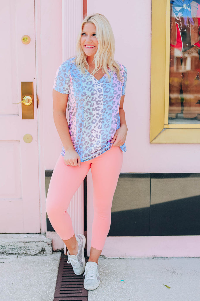 Nothing But Love Leopard Top - Blue Multi