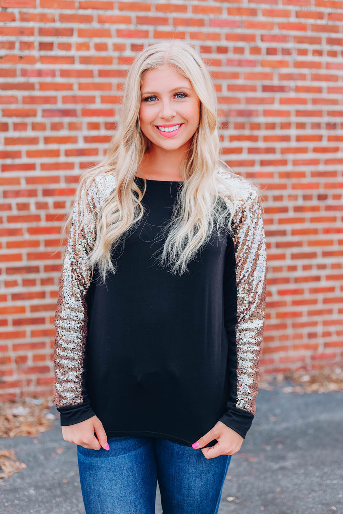 Holiday Party Sequin Top - Black