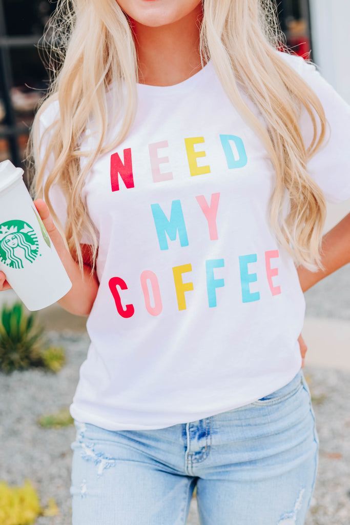 Need My Coffee Graphic Tee - White