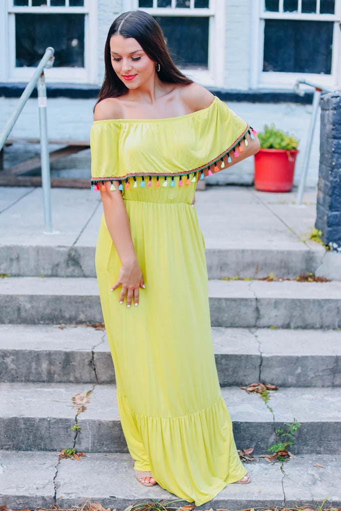 Here For The Fiesta Maxi Dress - Lime
