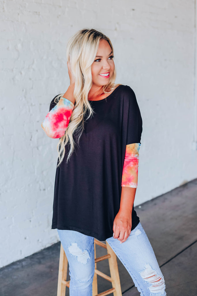 Touch Of Tie Dye Top - Black