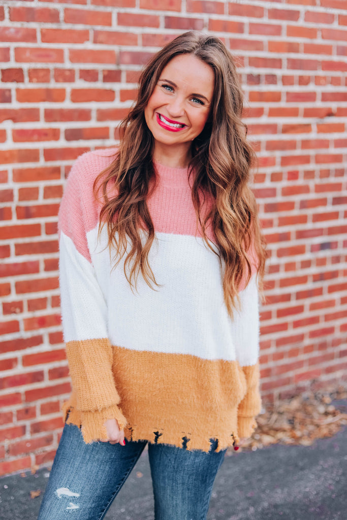 Most Girls Color Block Sweater