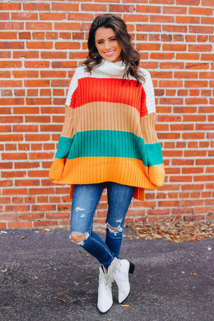 Lights Turn On Color Block Sweater