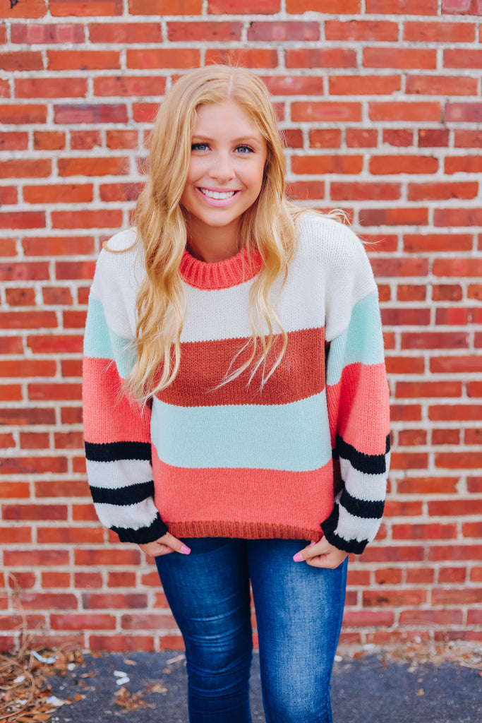 Retro Vibes Color Block Sweater