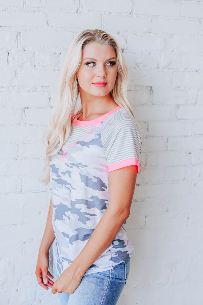 Glowing Pink Camo Top