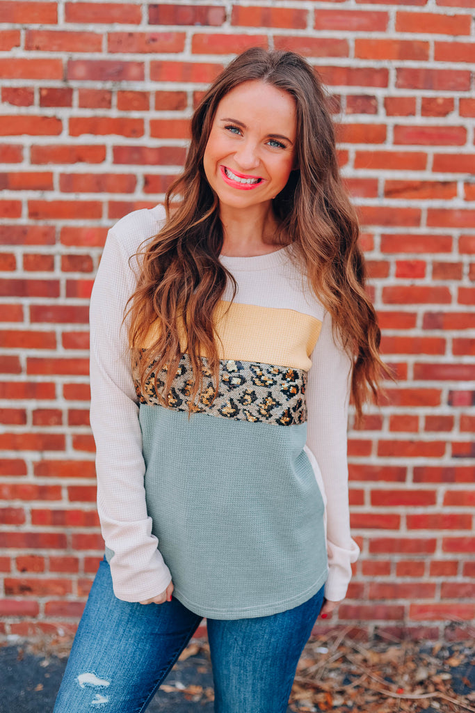 Call To The Wild Leopard Sequin Top - Natural