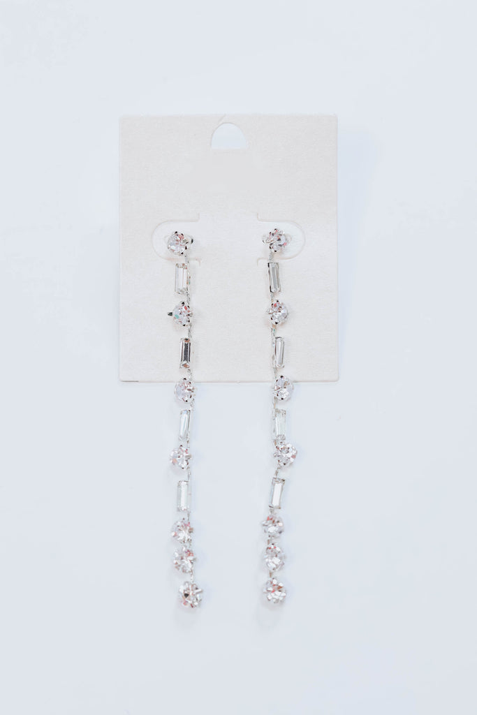 Rhinestone Fringe Earrings - Silver