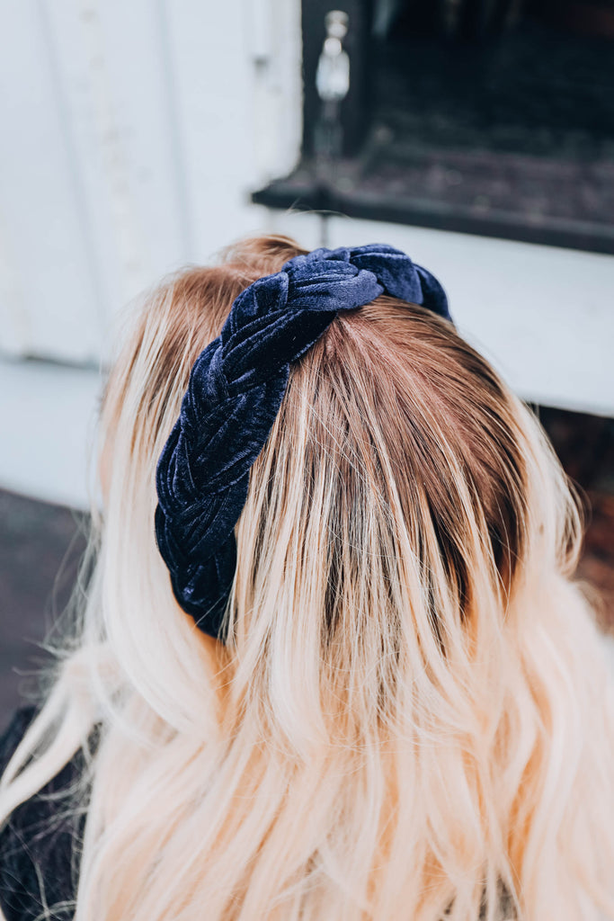 Blair Velvet Braided Headband - Navy
