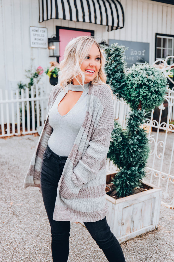 Fireside Striped Cardigan - Charcoal - S-3X