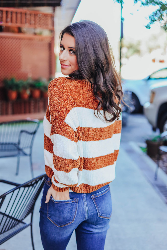 Get With It Striped Chenille Sweater - Bronze