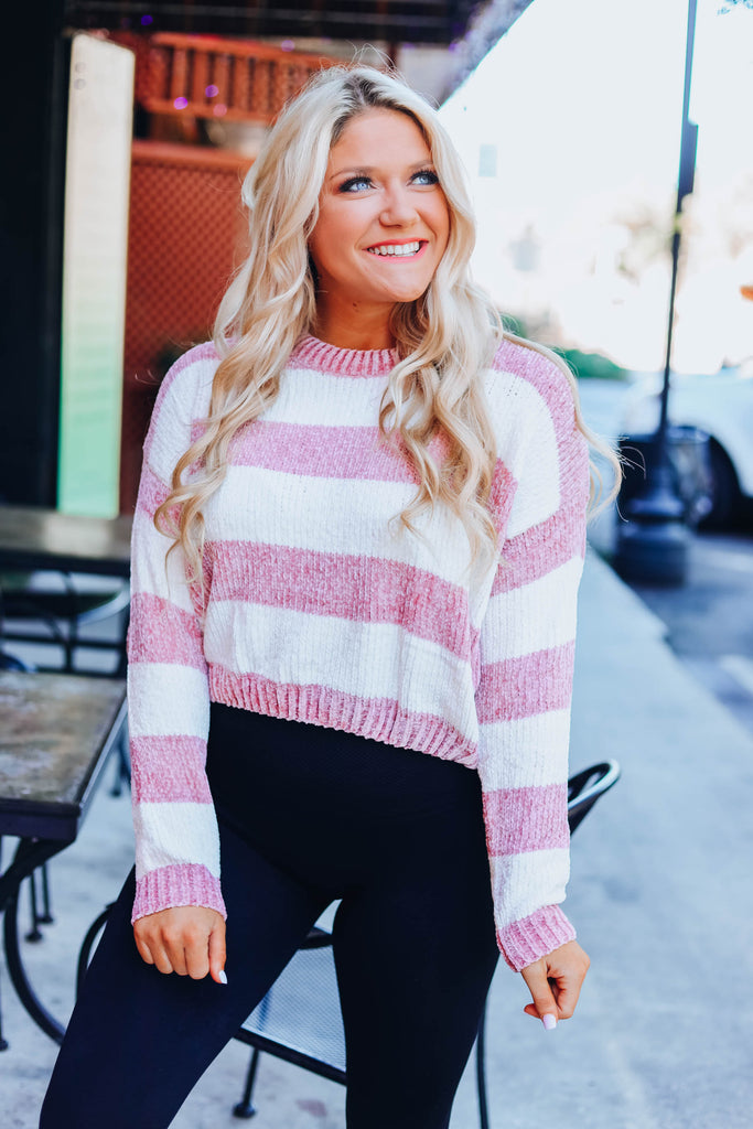 Get With It Striped Chenille Sweater - Mauve