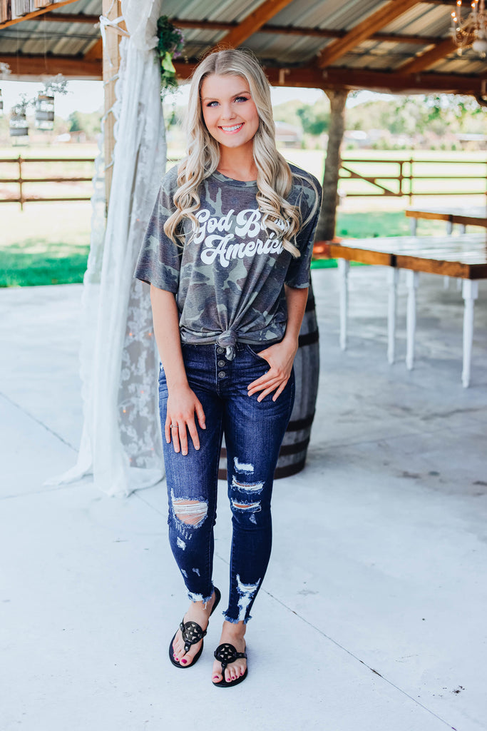 God Bless America Camo Graphic Tee