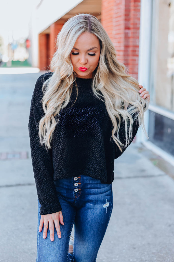 Promise You Chenille Sweater - Black