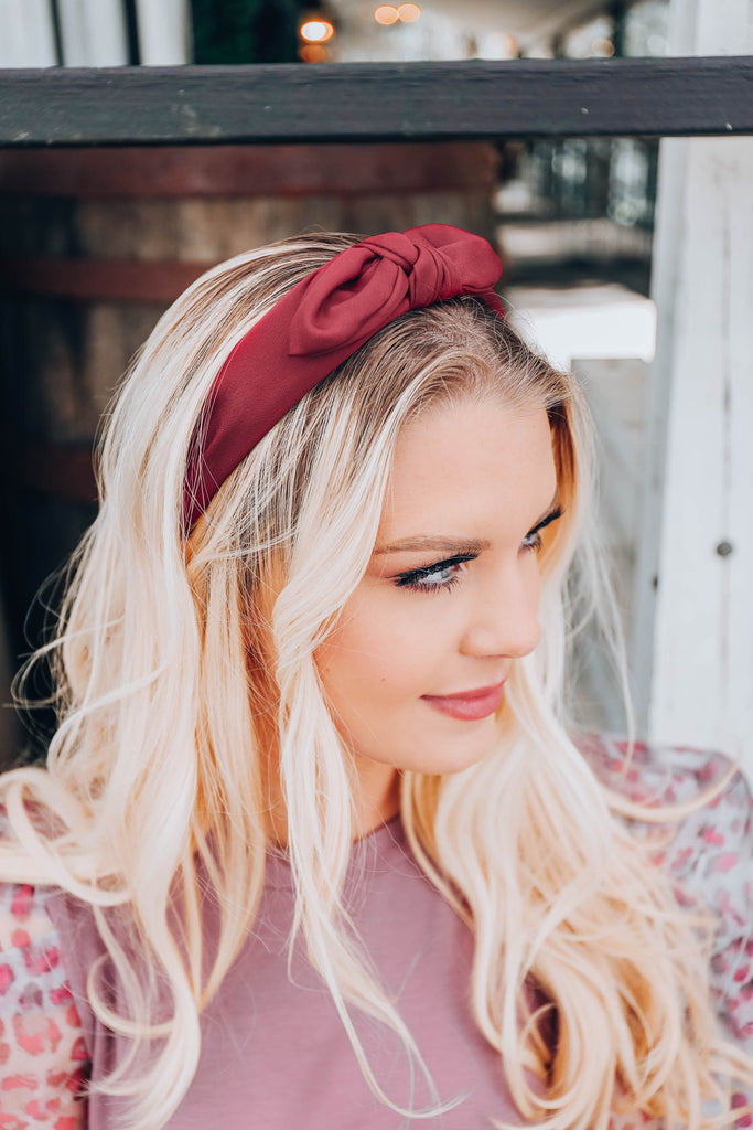 East Sider Knotted Bow Headband - Burgundy