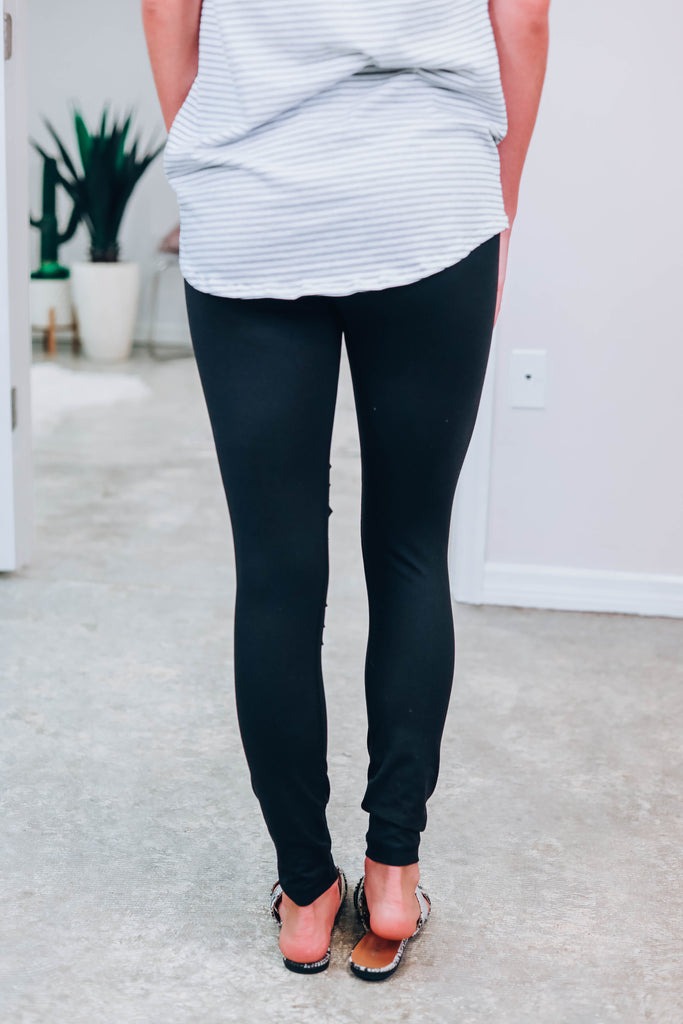 Stay Comfy Cutout Leggings - Black