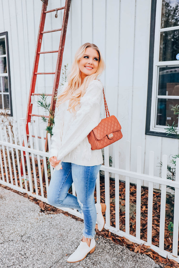 Snow Flurry Distressed Sweater