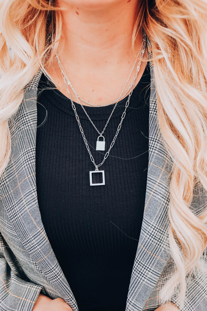 Down Rodeo Layered Necklace Set - Silver