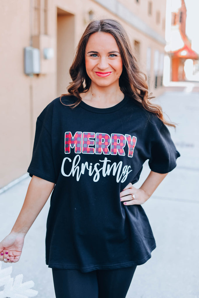 Merry Christmas Graphic Top - Black