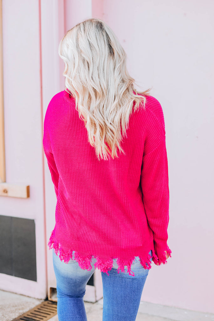 Dara Distressed Sweater - Magenta S-3X