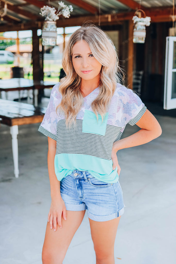 Pop Of Color Top - Mint