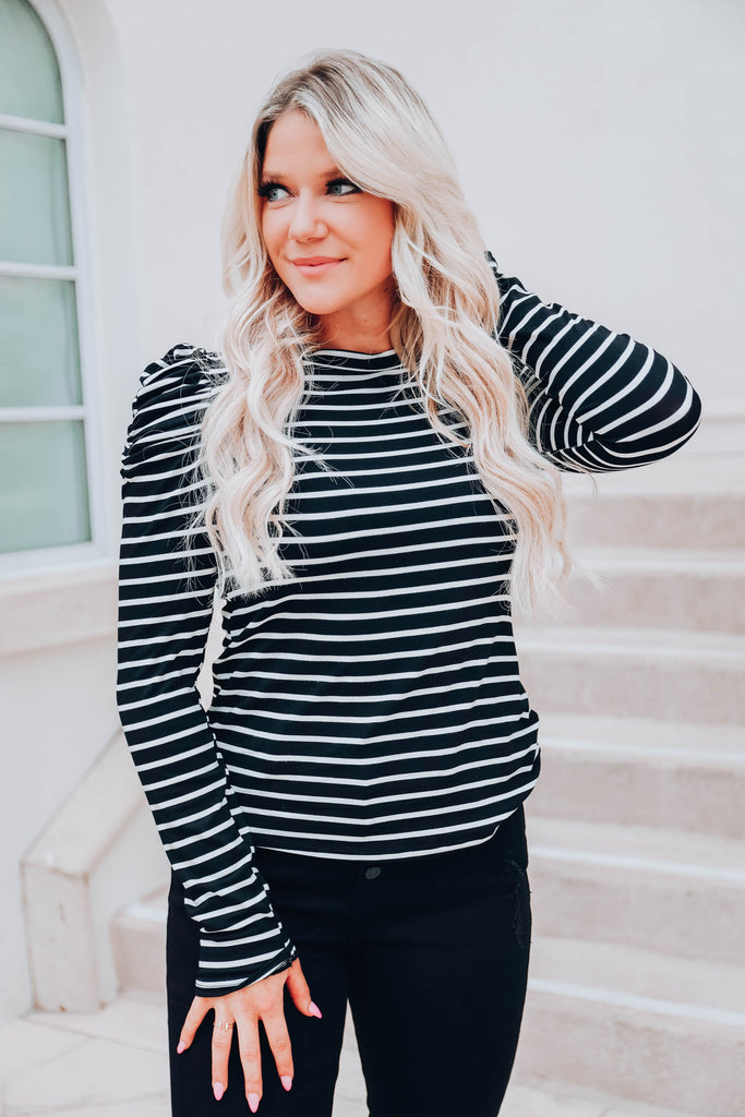 The Frill of It Striped Top - Black