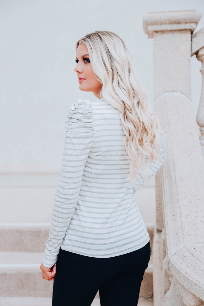 The Frill of It Striped Top - Grey