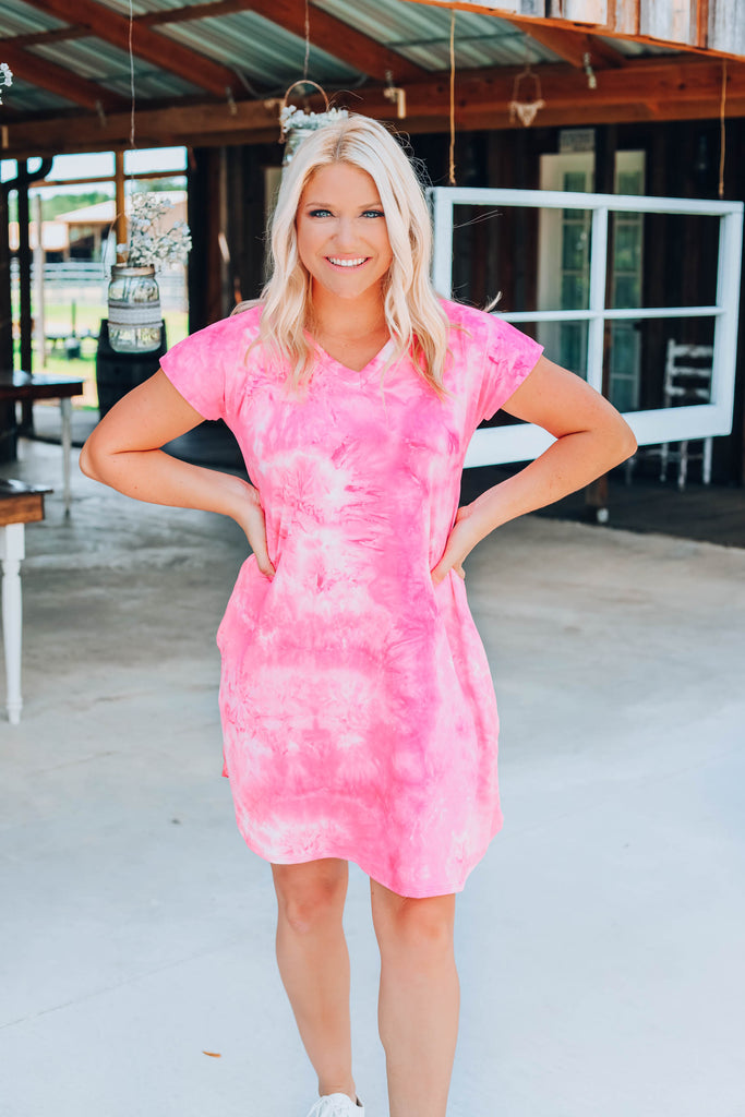 Rosy Pink Tie Dye Dress