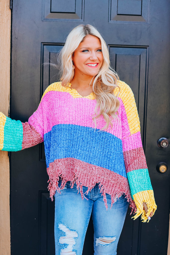 Flirty and Fringed Colorblock Sweater