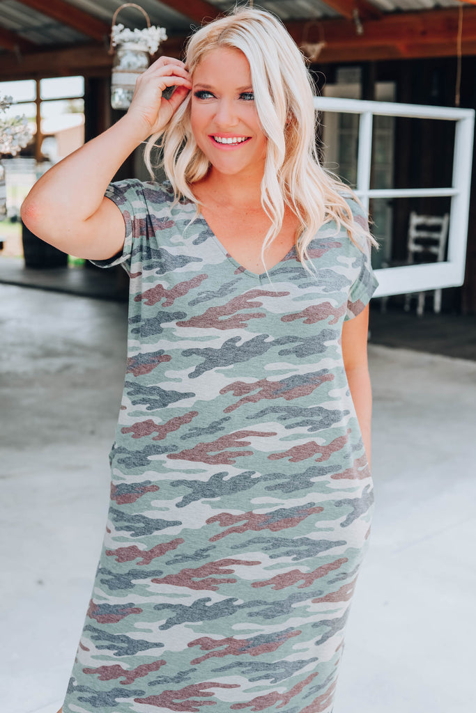 Country Roads Camo Maxi Dress - Olive