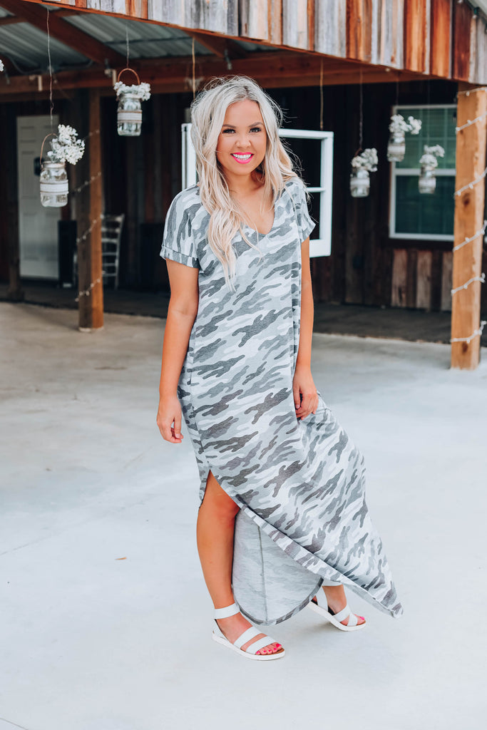 Country Roads Camo Maxi Dress - Grey