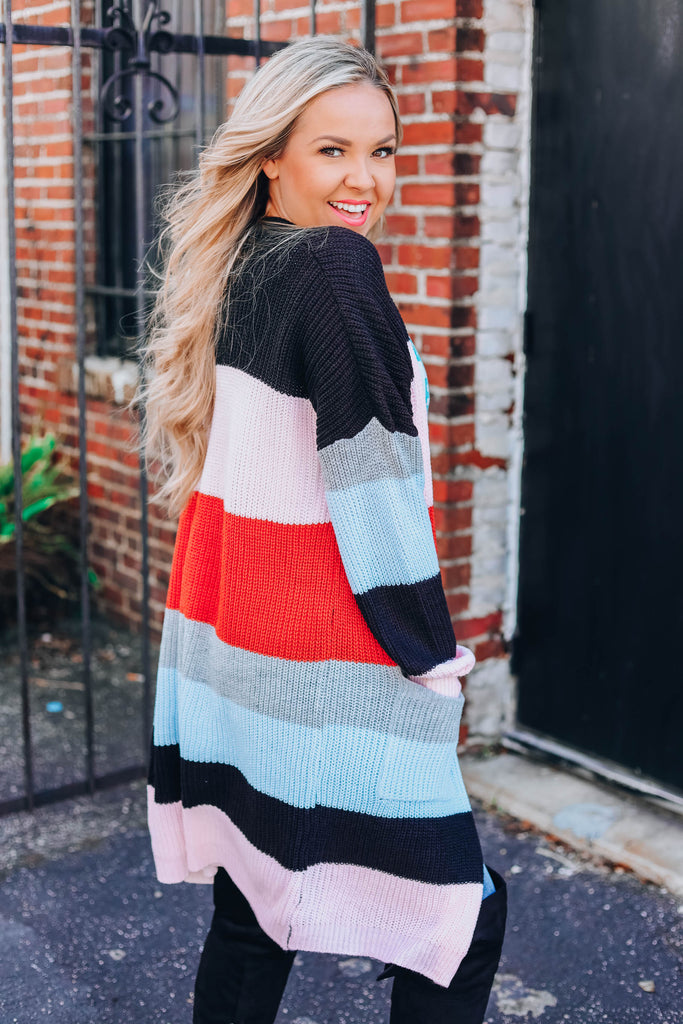 Brick Combo Striped Cardigan