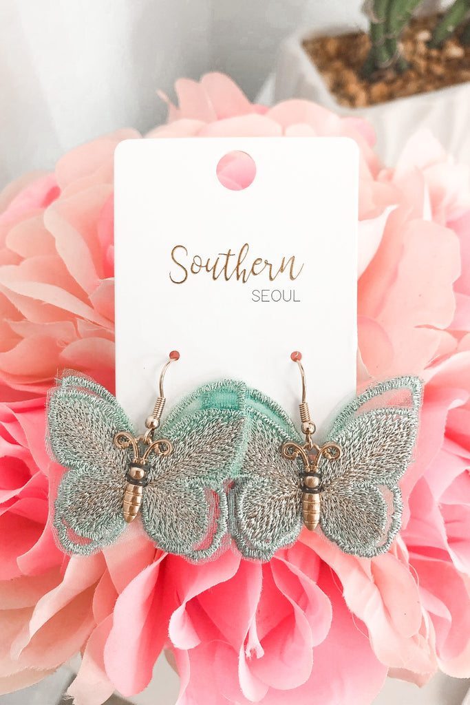 Butterfly Embroidered Earrings - Mint